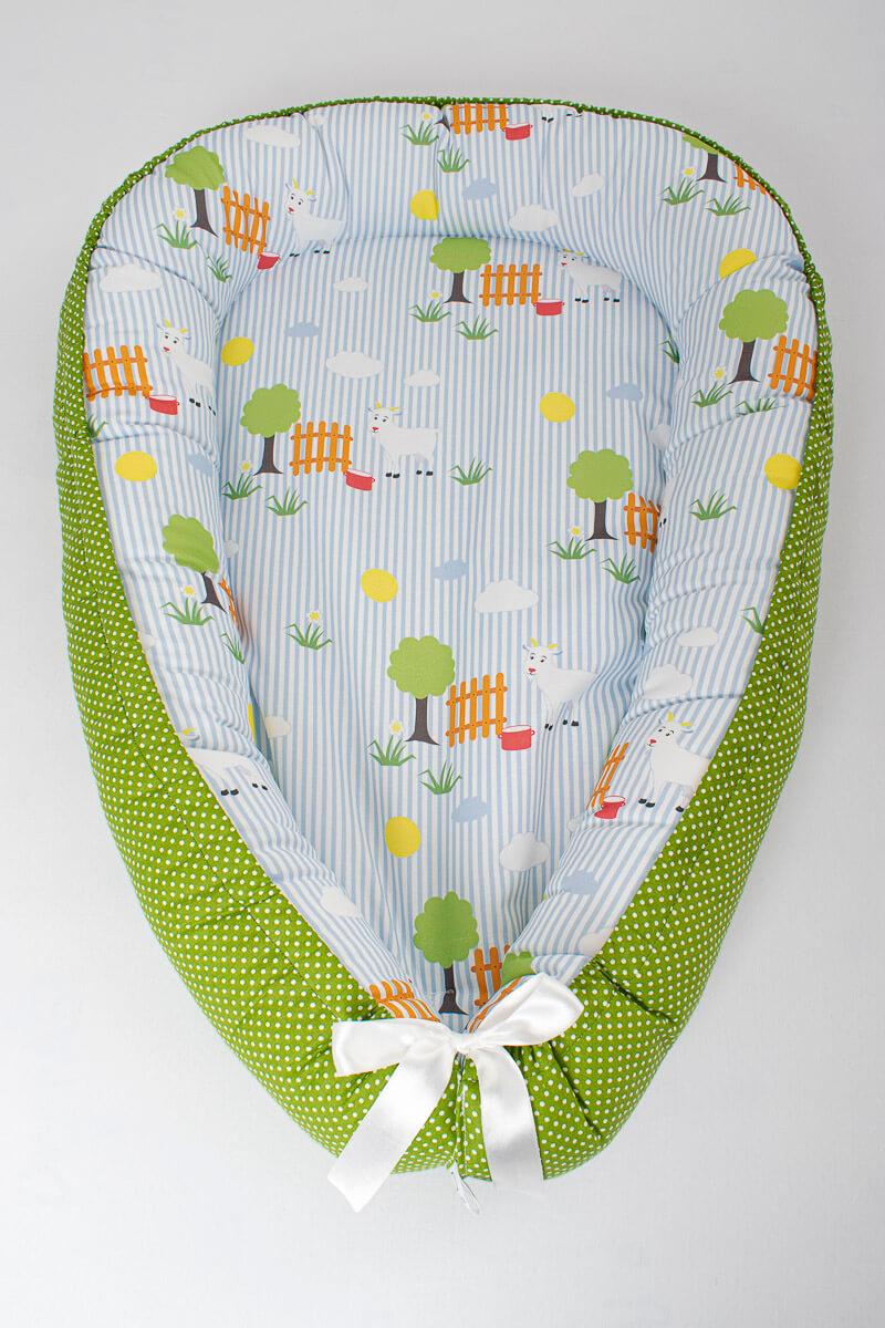 Hnízdečko pro miminko kozička DoRa/puntík na zelené