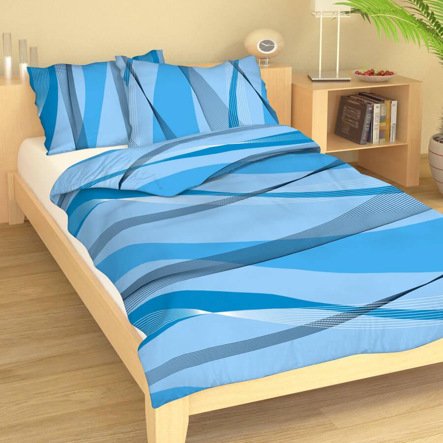 Bavlněné povlečení vlny odstíny modré 214791-410