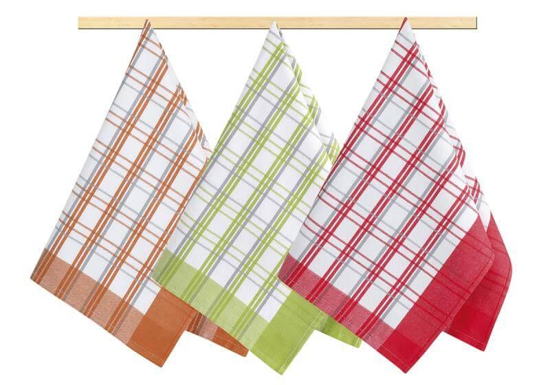 Sada utěrek kostka oranžová, červená, zelená 3 ks