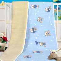 Dětská deka bílá s modrým fleece – Merino 450 g/m2