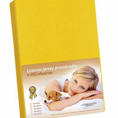 Bavlněné Jersey prostěradlo s elastanem sytě žlutá