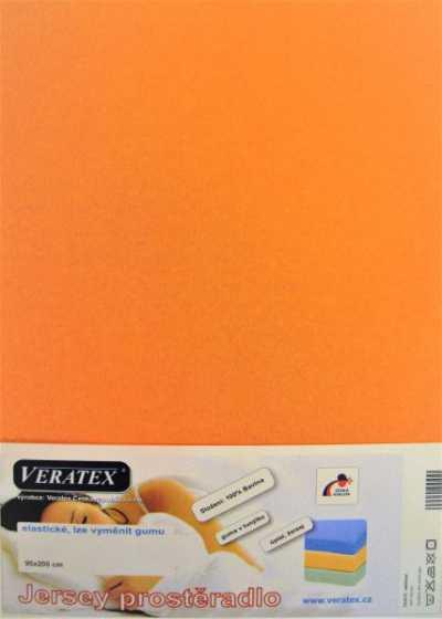Bavlněné Jersey prostěradlo meruňková Veratex 180 g