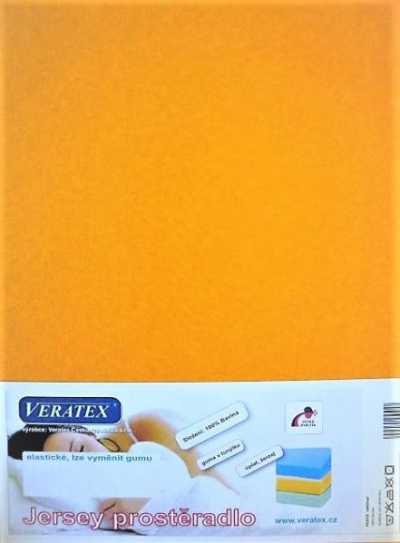 Bavlněné Jersey prostěradlo sytě žlutá Veratex 180 g