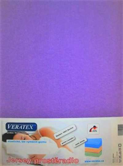 Bavlněné Jersey prostěradlo tm. fialová Veratex 180 g
