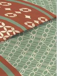 Krepové povlečení ornamenty na zeleno-rezavé 9378-32