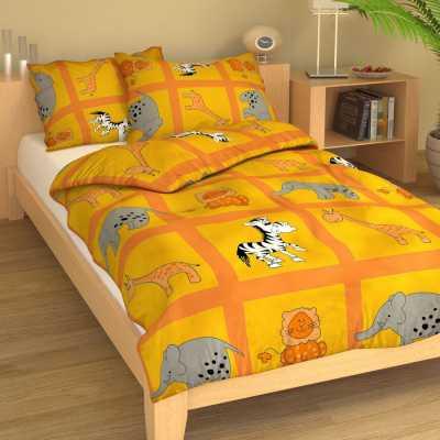 Dětské povlečení bavlna ZOO žluto-oranžová