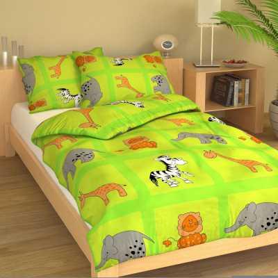 Dětské povlečení krep ZOO žluto-zelená