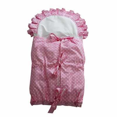 Zavinovačka s tkanicemi a kanýrem růžová/bílý puntík