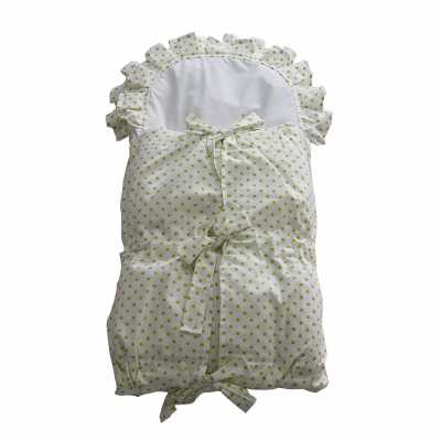Zavinovačka s tkanicemi a kanýrem bílá/zelený puntík
