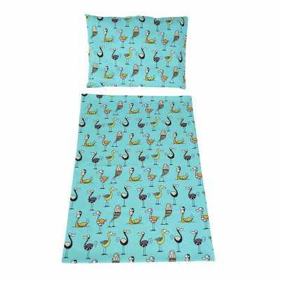 Dětské povlečení bavlna ptáčci na tyrkysové
