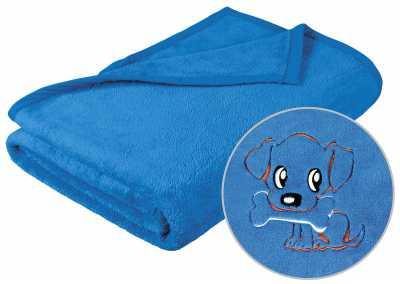 Dětská deka korall mikro modrá s výšivkou pejsek