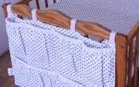 Kapsář na postýlku šedé puntíky na bílé