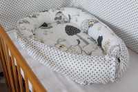 Hnízdečko pro miminko pejsci/šedý puntík na bílé